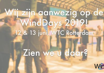 Bezoek ons op de WindDays 2019 op 12 en 13 juni
